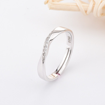 Funmor Exquisite Curved Adjustable 925 Sterling Silver Ring For Couple Women Men Wedding Engagement Decoration Accessories Gifts 4