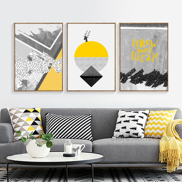 Unique Modern Abstract Deer Yellow Painting Gray Geometric Nordic Poster Geel Posters And Prints Wall For Living Room Unframed in Painting & Calligraphy Top Design - New Wall Posters for Bedroom Photos