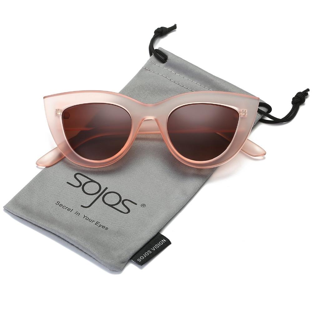 Gafas de sol de las mujeres accesorios de ojo de gato estilo 2017 de marca de diseñador de moda de tonos de plástico negro UV400 gafas de sol de SOJOS