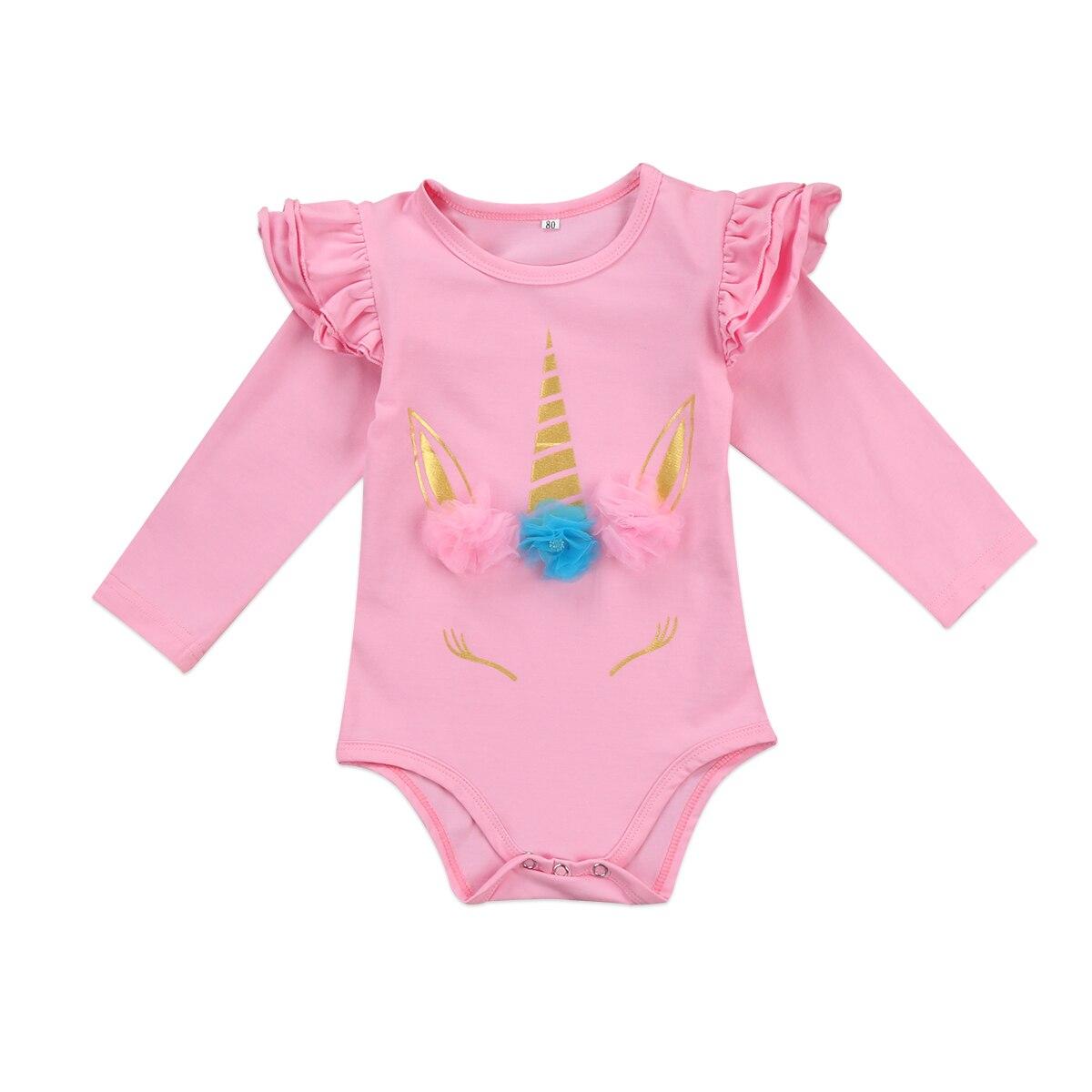 Infant Kids Baby Girl unicorn Long Sleeve Ruffles Romper ...