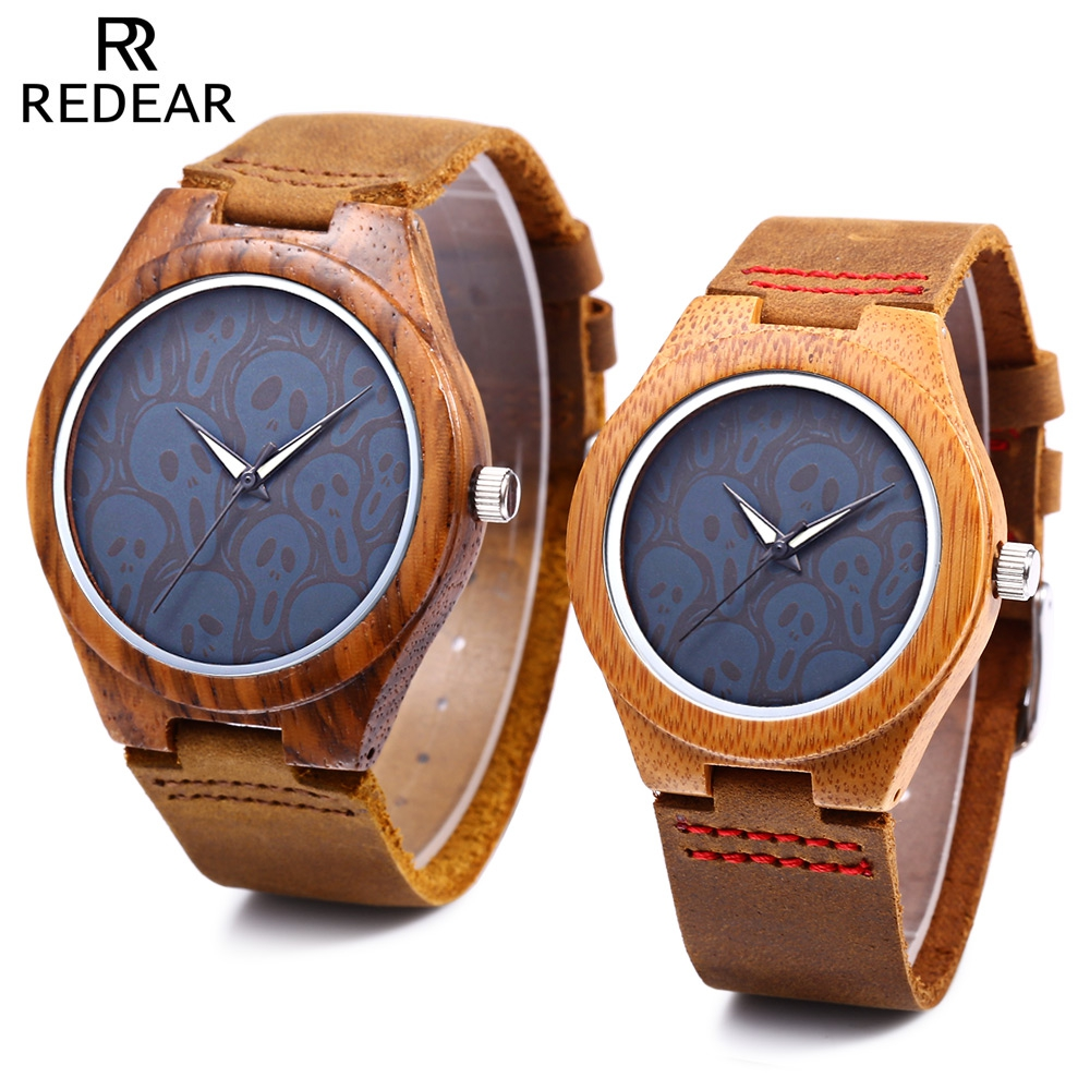 REDEAR Couple Quartz Watch Water Resistance Imported Movt Luminous Pointer Wooden Case Wristwatch male quartz watch luminous pointer working sub dials water resistance wristwatch
