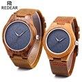 REDEAR Couple Quartz Watch Water Resistance Imported Movt Luminous Pointer Wooden Case Wristwatch