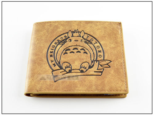 Khaki color My neighbor Totoro PU short wallet thin type with totoro's printing my neighbor totoro pu purse tonari no totoro penny wallet with button type a