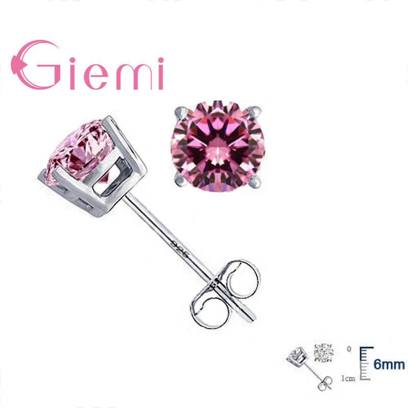 Wholesale Price High Quality Jewelry 925 Sterling Silver Women Brincos Cubic Zirconia CZ 4 Claws Stud Earrings 8 Color
