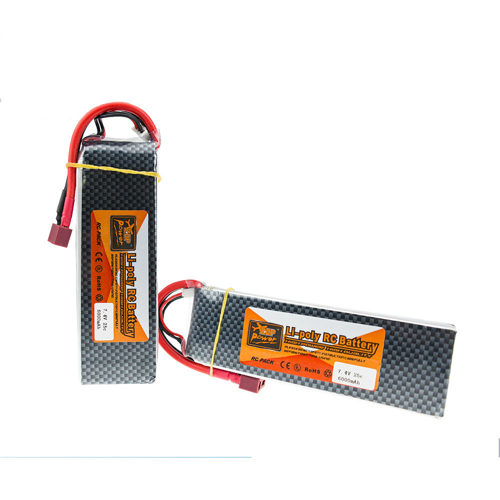 1pcs ZOP <font><b>Lipo</b></font> Battery 7.4V <font><b>6000MAH</b></font> 25C <font><b>2S</b></font> TPlug For RC Drone Models Helicopters Airplanes Cars Boat Batteria image