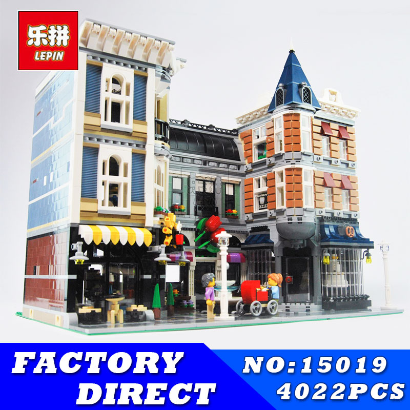 LEPIN 15019 4002pcs Assembly Square Creator City Series Street Building Blocks Kits Brick Educational Toys Gift Compatible 10255 a toy a dream lepin 24027 city series 3 in 1 building series american style house villa building blocks 4956 brick toys