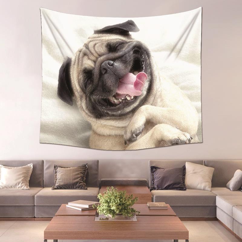 PEIYUAN 2017 New Design Animal Pug Dog Home Decorative Factory Wholesale  Custom Made Wall Tapestry
