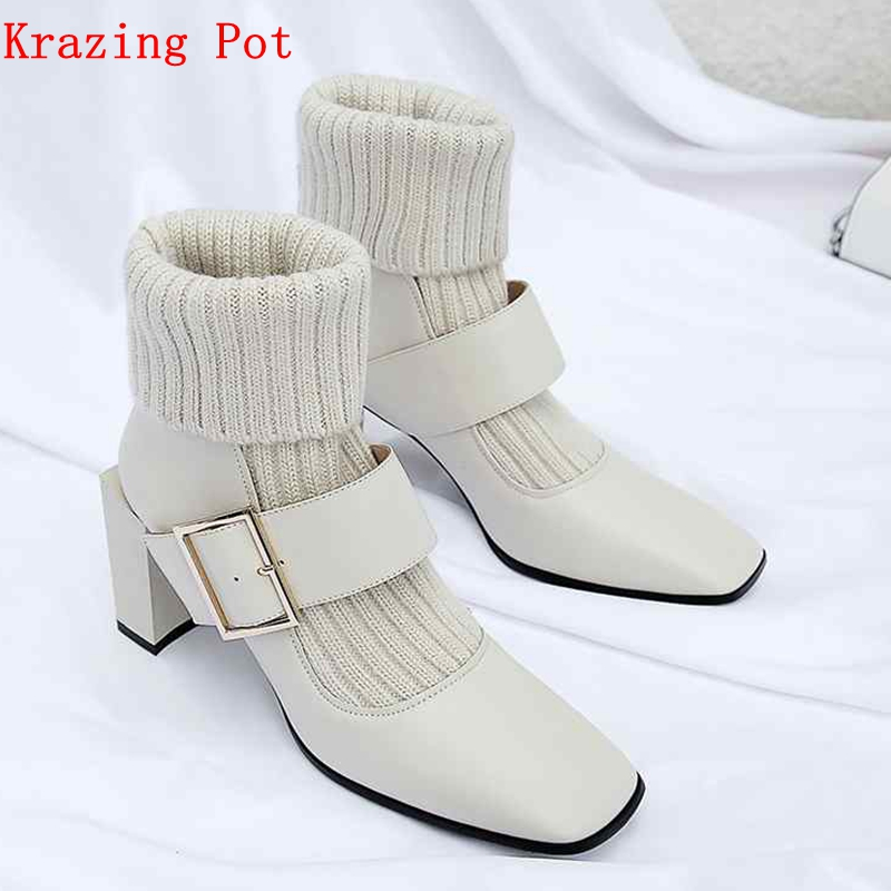 Krazing Pot natural leather square toe high heel European knitting stretch boots metal buckle simple women