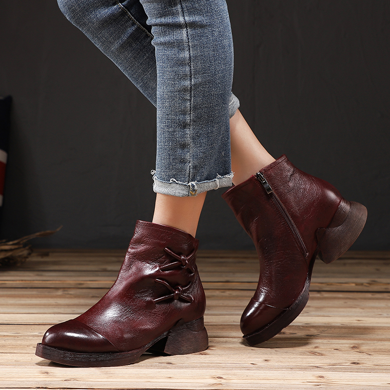 Round Toe Boots Shoes Woman Latest Design Female Short Ankle Booties Real Cow Leather Soft Low Cut Lady Heel Boots