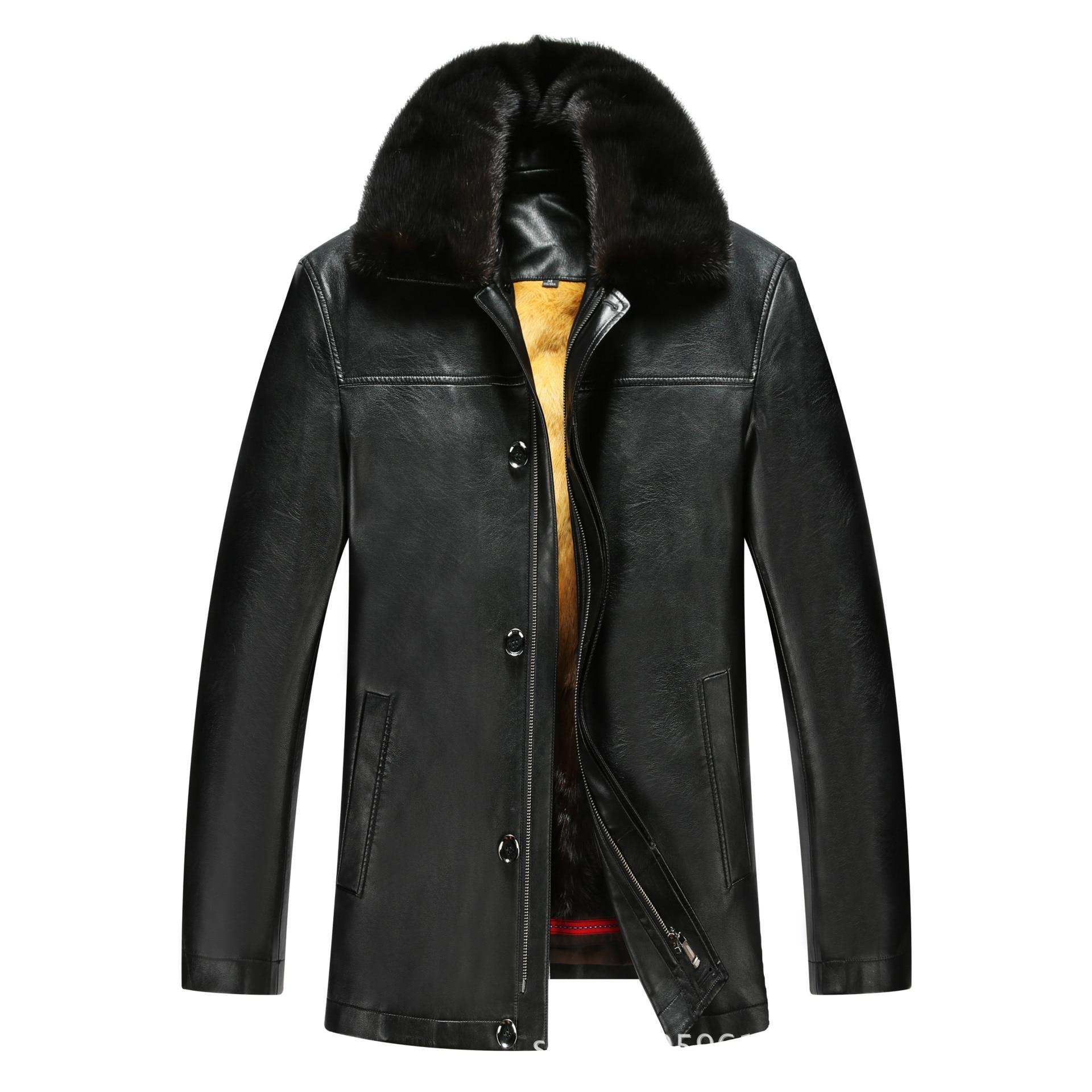 817 nouvelle mode hiver vêtements hommes veste longue en cuir manteau hommes en cuir manteau hiver lapin fourrure doublure vison fourrure veste - 2