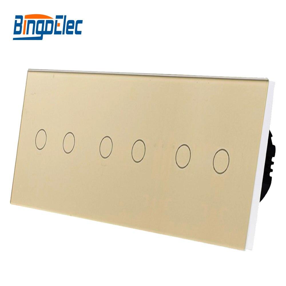 Interrupteur de type EU, interrupteur intelligent à applique tactile 6 gangs, combinaison gratuite, offre spéciale de AC110-250V - 3