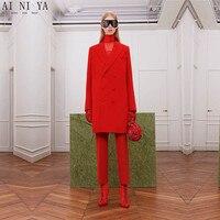 Красные костюмы женские офисные деловые длинные пальто Зимняя рабочая одежда 2 шт. наборы офисная форма стили тонкие женские элегантные брю