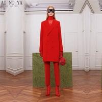 Red Suits Women Office Business Long Coat Winter Work Wear 2 Piece Sets Office Uniform Styles Slim Ladies Elegant Pant Suits