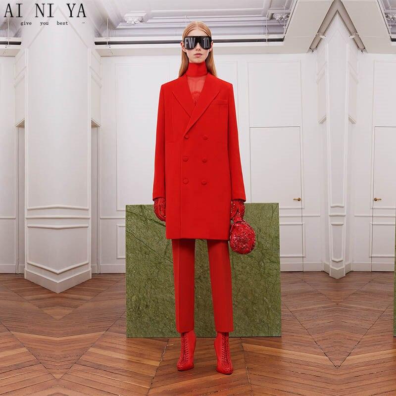 Rouge Costumes Femmes Bureau D'affaires À Long Manteau D'hiver Vêtements de Travail 2 Pièce Ensembles Bureau Uniforme Styles Mince Dames Élégant Pantalon costumes