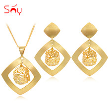 Sunny Jewelry Fashion Jewelry 2019 Dubai High Quality Jewelry Set Women Earrings Pendant Necklace Cubic Zirconia Square For Gift(China)