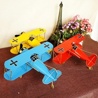 Vintage Metal Plane Model Iron Retro Aircraft Glider Biplane Pendant Airplane Model Toy Home Crafts Decoration