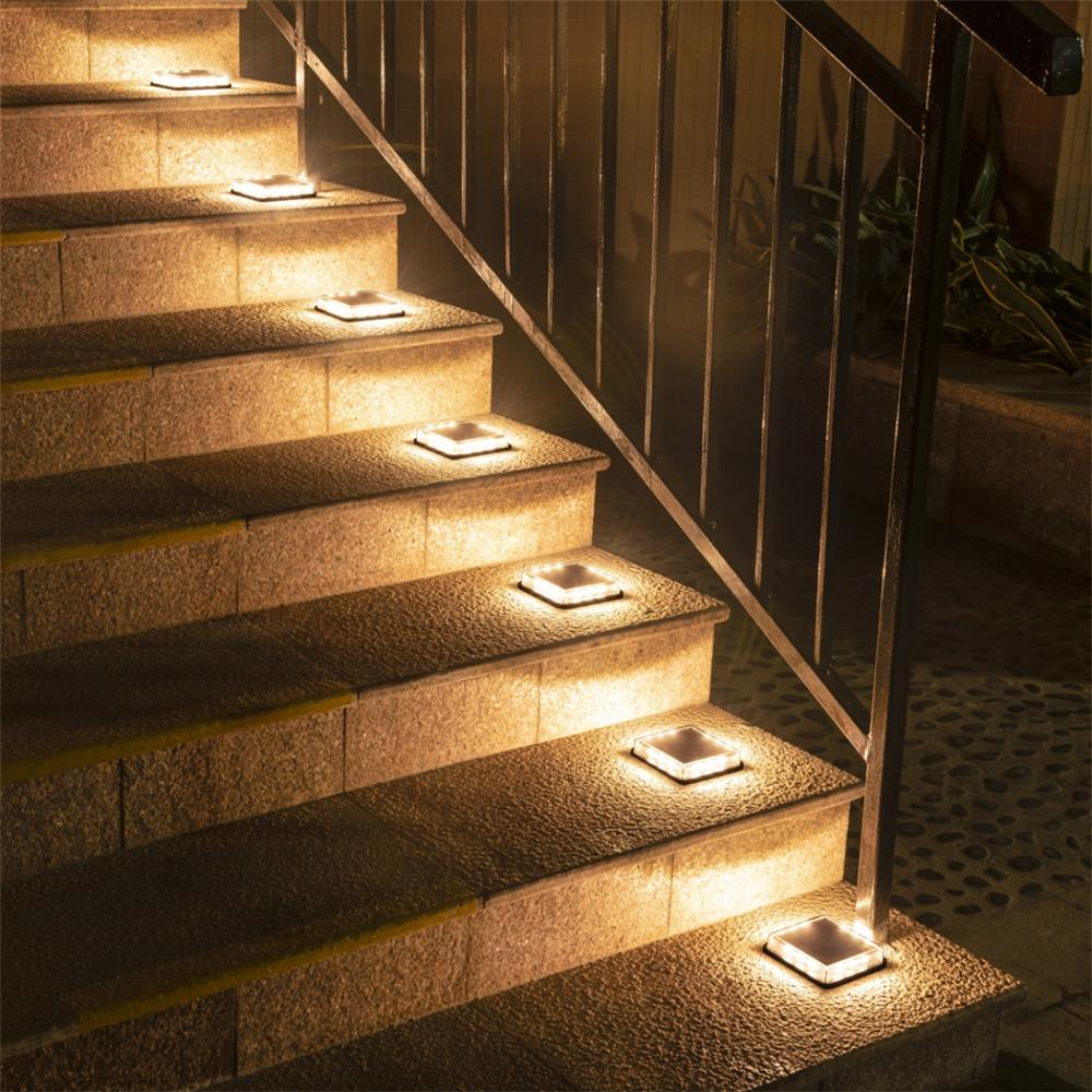 Dropshipping Outdoor LED Solar Underground Lamp 1pcs Waterproof Stair Light Wall Embedded Lighting Step Deck Footlights IP68