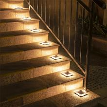 Dropshipping Outdoor LED Solar Underground Lamp 1pcs Waterproof Stair Light Wall Embedded Lighting Step Deck Footlights IP68 цена и фото