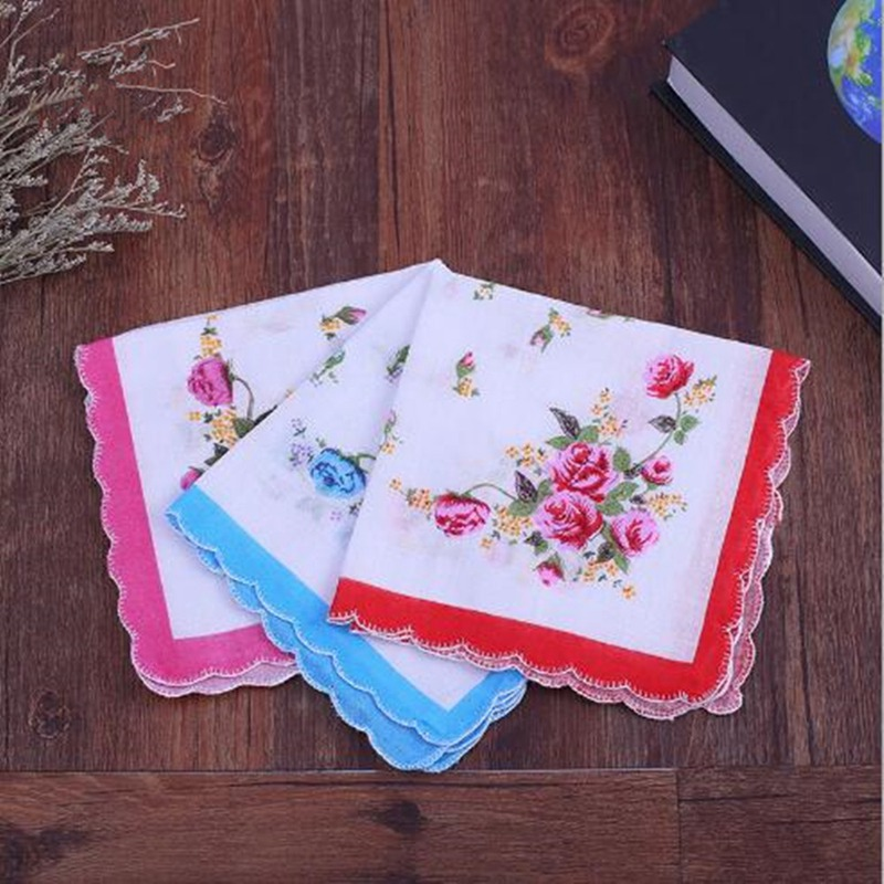 5Pcs Random Color Ladies Womens Printed Cotton Handkerchief Small Floral Absorbent Towel BBB0761