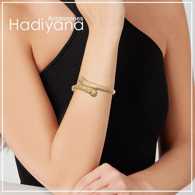 HADIYANA Luxury Tiny Cubic Zirconia Fashion Bracelets Bangles Roase Gold For Women Girl Party Wedding Bangle Jewelry SZ032