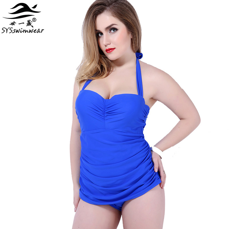 High quality Halter Swimsuit one piece Sexy Women Plus size swimwear red blue black swimwear for big women bathing suit black blue one piece swimsuit monokini backless sexy leotard women plus size bathing suit top quality transparent mesh swimwear