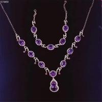 Gem ювелирный завод Простой Разработанный 925 Серебро Природный пурпурный кристалл ожерелье с аметистом браслет комплект ювелирных изделий д