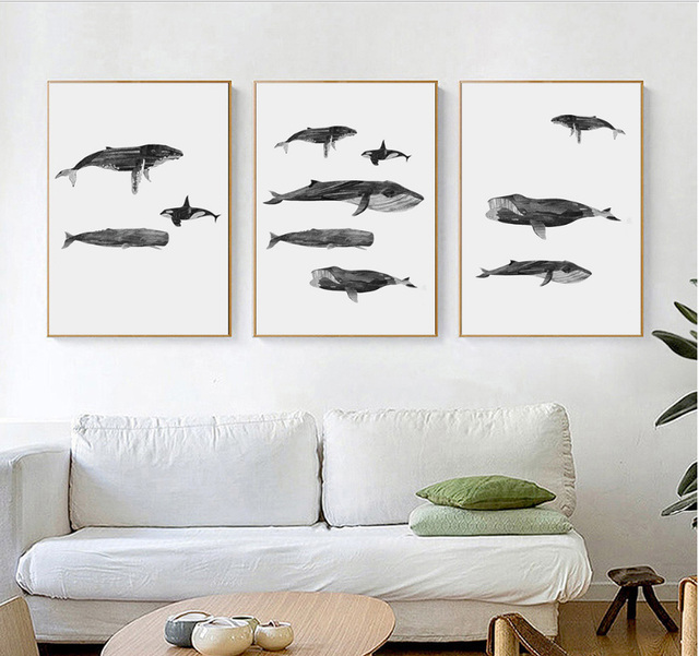Simple black and white fish decorative painting aesthetic triad no ...