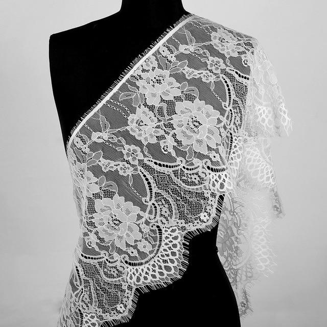 3 야드 클래식 속눈썹 레이스 트림 블랙 & 화이트 부드러운 꽃 클래식 레이스 패브릭 장식 공예 드레스 장식 만들기위한 바느질