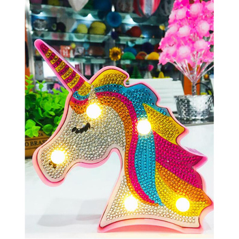 New Hot Sale Product 5d Diy Led Diamond Painting Unicorn Light Round Drill Home Decoration