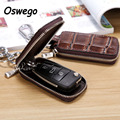 Luxury Genuine Leather Embossed Zipper Car Key Case Key Holder Wallet Key Storage Bag with Keychain Hanging Buckle carteras