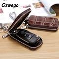 Luxury Genuine Leather Embossed Zipper Car Key Case Key Holder Wallet Key Storage Bag with Keychain Hanging Buckle carteras