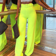 Causey  2019 Summer Wide Leg Pants Women High Waist Casual Sexy Fluorescence Neon Pants Ladies Trousers james e causey twisted