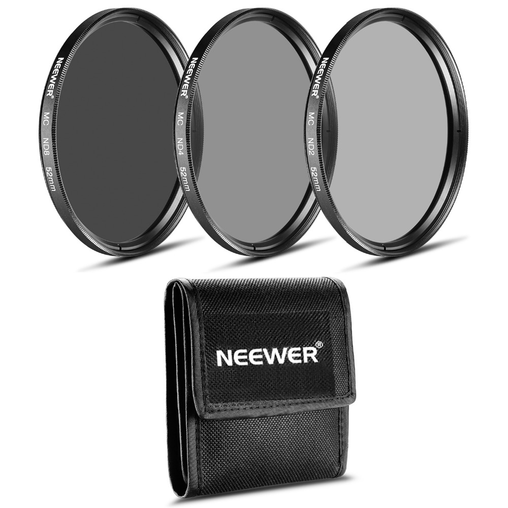 Neewer 52MM ND Filter Set(ND2 ND4 ND8)+Cleaning Cloth for NIKON 18-55mm f/3.5-5.6G ED AF-S DX,55-200mm f/4-5.6G ED IF AF-S DX VR