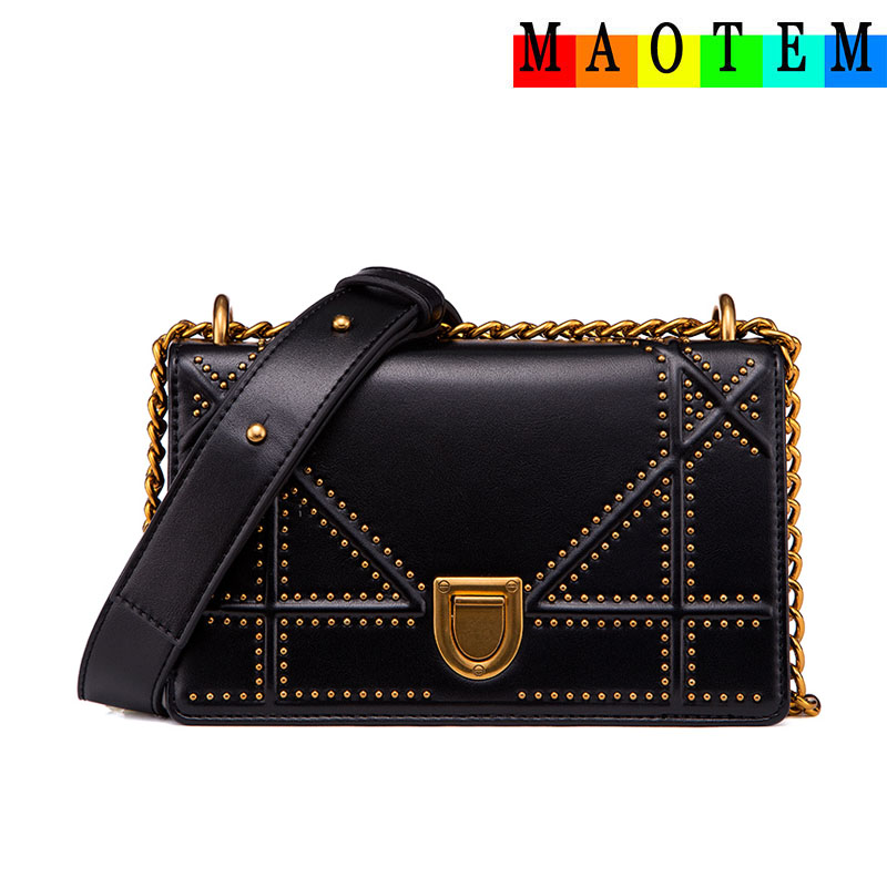 MAOTEM Factory Price Chains Bags for Women 2017 Women Genuine Leather Messenger Bag High Quality Crossbody