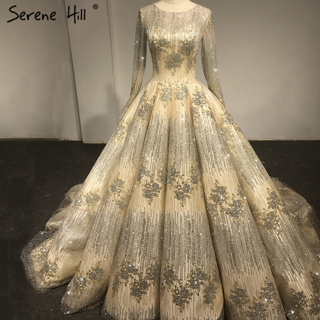 Long Sleeve Luxury Glitter Wedding Dress 2019 Real Photo Ball Gown  Photography Bridal Dress Vestido De d1e686db3076