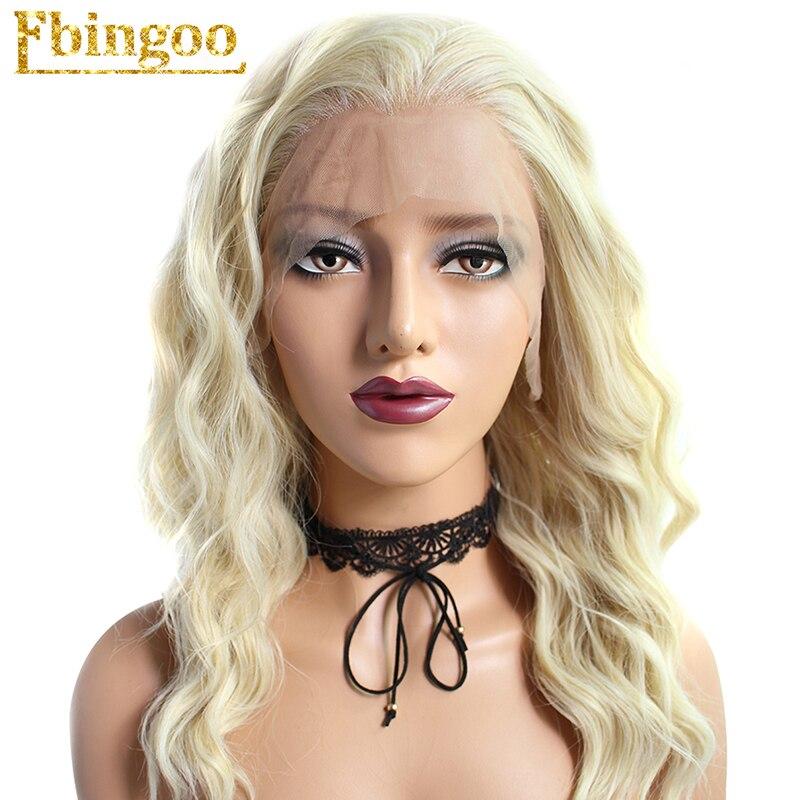 Ebingoo High Temperature Fiber Perruque 613 Platinum Blonde Mixed Long Loose Wave Synthetic Lace Front Wig