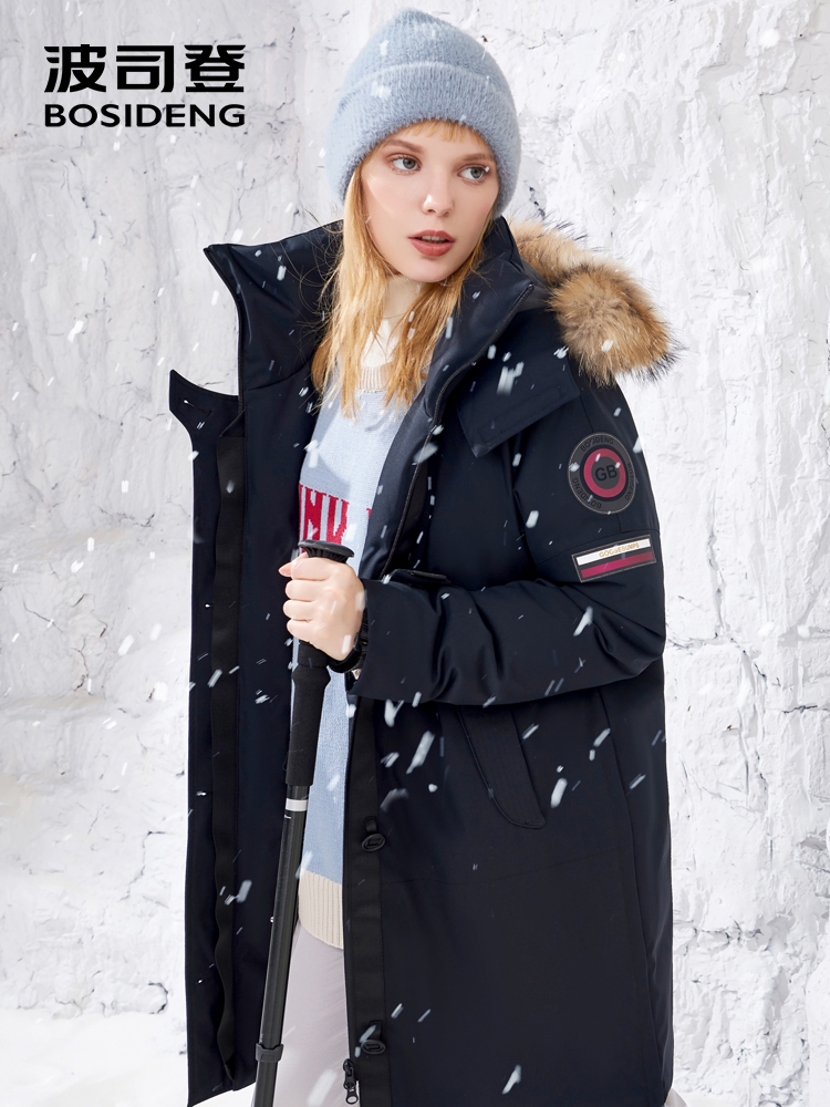 BOSIDENG الايطالية مصمم جمع الشتاء رشاقته أبلى المرأة منتصف طويل الفراء الطبيعي طوق أوزة أسفل معطف فضفاض B80142160S-في معاطف قصيرة من ملابس نسائية على  مجموعة 1
