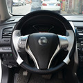 Black Suede Black White Leather Hand-stitched Steering Wheel Cover for Nissan 2013 Teana 2014 X-Trail QASHQAI Sentra