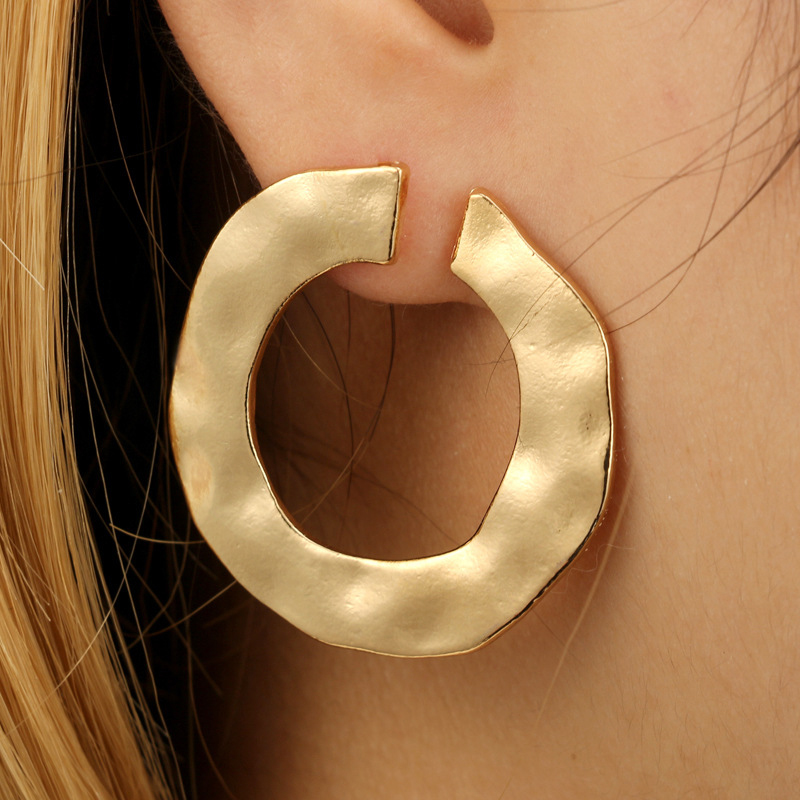 Naiveroo 2018 European American Trade Cross Border Ripple Round Alloy Simple Earrings Round Circular Jewelry Female Accessory