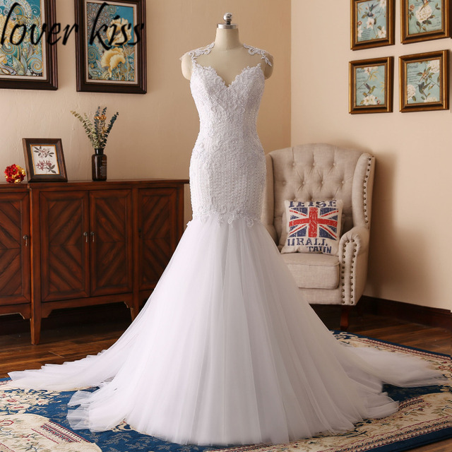 Lover Kiss robe de mariee bustier Lace Mermaid Wedding Dresses Gowns ...