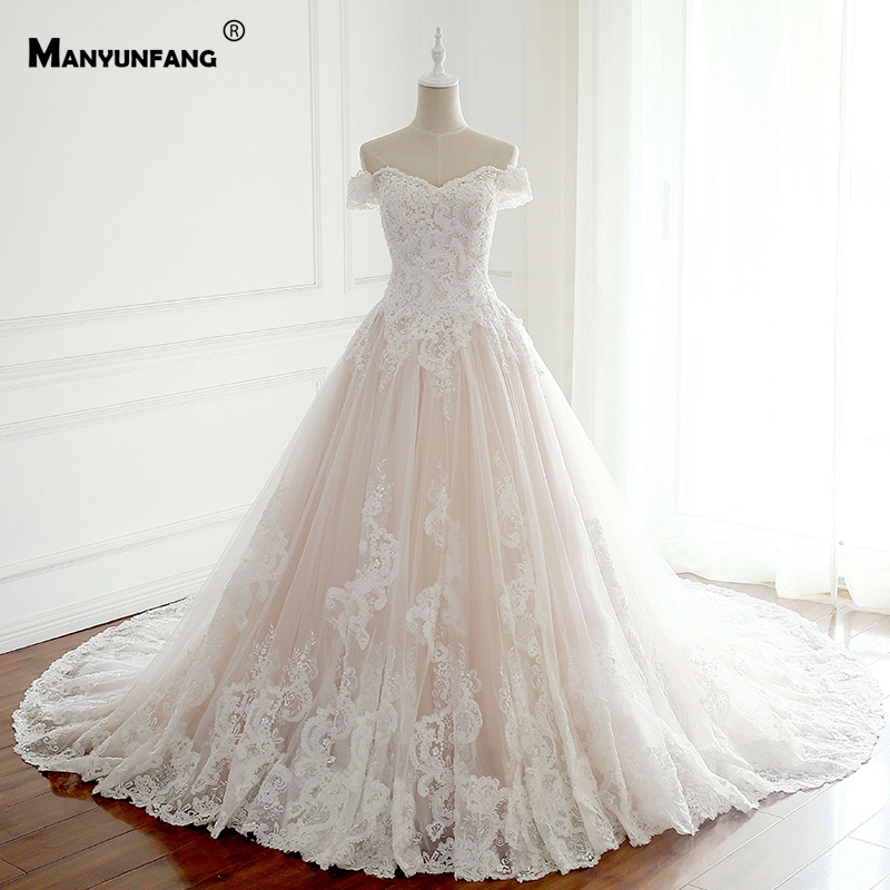New Capped Sleeves Embroidery Appliques Vestido De Noiva Praia Chapel Train High Quality Soft Tulle Wedding Dresses Turkey
