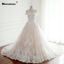 MANYUNFANG Capped Sleeves Chapel Train Wedding Dresses