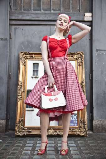 9f7546c0f86 Online Shop 40- women vintage 50s gingham bow detail circle swing suspender  skirt in red plus size brace skirts rockabilly pinup saia faldas