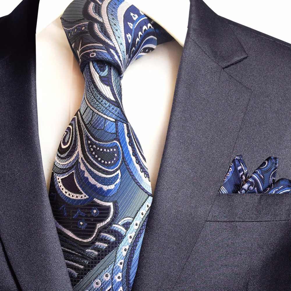 GUSLESON yeni Paisley jakarlı dokuma İpek erkek kravat mendil kravat seti 8cm çizgili kravatlar erkekler için iş düğün