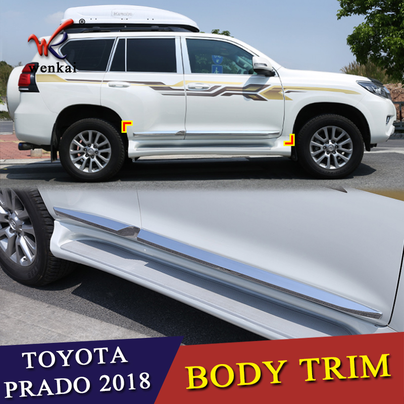 For Toyota Prado FJ150 2018 Car Styling ABS Chrome Door Body Side Trim Cover Molding Glossy Silver 4pcs/set