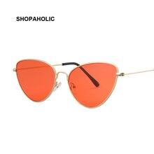 Фотография Vintage Cat Eye Sunglasses Women Ocean Color Lens Luxury Brand Mirror Sunglasses Female Metal Frame Sexy Glasses Oculos UV400