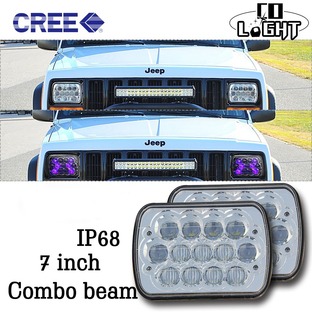 ФОТО CO LIGHT 7X6INCH LED WORK LIGHT SUPER BRIGHT 39W 21W HI LO BEAM DC 12V DAY TIME RUNNING LIGHT FOR 4X4 OFF ROAD JEEP FORD VAN XJ