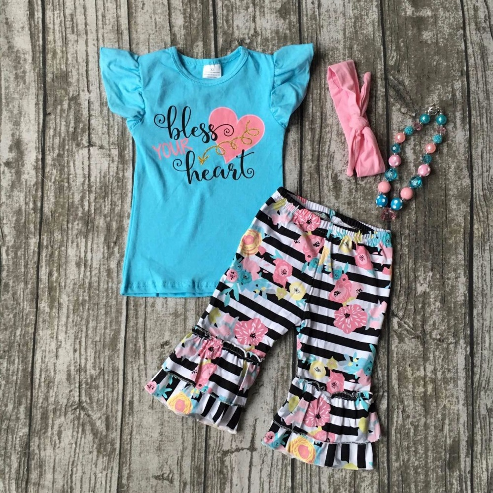 summer baby girls outfits bless your heart kids wear boutique capris cotton striped floral clothes with matching accessories kids clothes girls boutique clothing girls back to school outfits girls summer outfits with matching headband