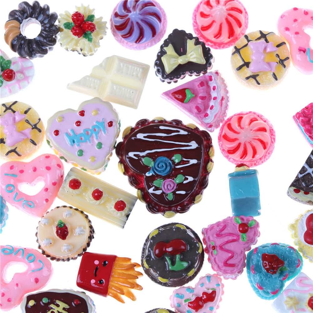 10 pçs/lote Fingir Brinquedo Em Miniatura Para Bonecas Bonecas Acessórios Aleatório Mini Jogar Comida Bolo Biscuit Donuts