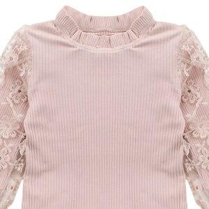 Image 3 - ملابس للبنات الدانتيل كم البلوز + منقوشة فستان 2 قطعة ملابس الفتيات المراهقات ملابس كاجوال للأطفال 6 8 10 12 13 سنة